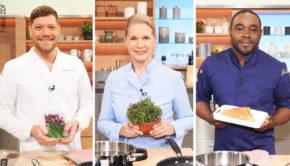 """Mit kulinarischen Kindheitserinnerungen der drei Profis Robin Pietsch, Cornelia Poletto und Nelson Müller beginnt heute im ZDF die """"Küchenschlacht"""". Als Juror ist Johann Lafer mit von der Partie. (Fotos: ZDF)"""