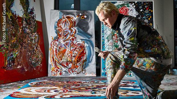 Morgen eröffnet in der renommierten Kunsthalle Messmer in Riegel am Kaiserstuhl die große Werkschau von Kunststar Leon Löwentraut. Es ist das erste Mal, dass der 22-jährige Düsseldorfer ein gesamtes Museum mit seinen Werken bespielt. (Foto: Michael Gueth)