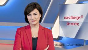 """Die finale Phase des Präsidentschaftswahlkampfs in den USA ist heute Abend eins der Themen in der ARD-Talkshow """"Maischberger. Die Woche"""". Moderatorin Sandra Maischberger spricht darüber u.a. mit der Nichte des Amtsinhabers, Mary L. Trump. (Foto: WDR/Markus Tedeskino)"""