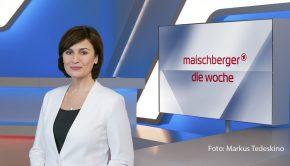 """In ihrer Talkshow """"Maischberger. Die Woche"""" begrüßt Gastgeberin Sandra Maischberger am heutigen 20. Januar u.a. namhafte Gäste aus Bayern: den Ministerpräsidenten Markus Söder und den Kabarettisten Michael Mittermeier. (Foto: WDR/Markus Tedeskino)"""
