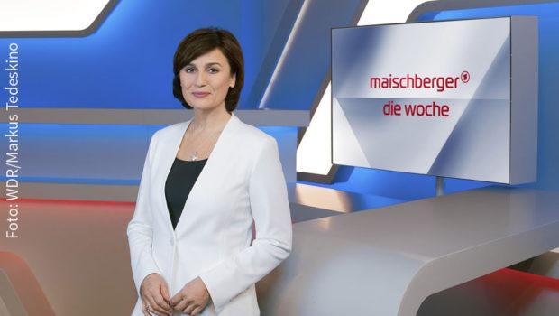 """In ihrer ARD-Talkshow """"Maischberger. Die Woche"""" begrüßt Sandra Maischberger am Mittwochabend wieder namhafte Gäste. Im Studio sind u.a. Innenminister Horst Seehofer und Grünen-Chefin Annalena Baerbock sowie der Kabarettist Mathias Richling. (Foto: WDR/Markus Tedeskino)"""