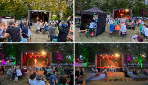 """""""Lachen, Bier & Fußball"""" lautete gestern Abend das Motto beim Auftakt von Matze Knops Biergarten-Kurztournee in Wesel. Zwei weitere Shows stehen am Wochenende auf dem Programm des Comedians. (Foto: smalltalk/L. Rothländer)"""