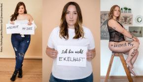 Unter dem Motto #RespectMySize haben die Influencerinnen Verena Prechtl und Julia Kremer eine aufmerksamkeitsstarke Kampagne initiiert. Damit setzen sie ein wichtiges Signal gegen die Diskriminierung von Übergewichtigen und Bodyshaming. Auch unsere IMP-Kollegin Karina Kreitzen alias @froileinfux unterstützt die Aktion (Fotos: Vierfotografen/Dennis Gall@monsieurfux)