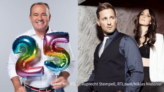 """Der """"RTL-Spendenmarathon"""" feiert in der kommenden Woche sein 25. Jubiläum. Tatkräftige Unterstützung erhält Moderator Wolfram Kons dabei auch von RTLzwei, u.a. durch die """"Köln 50667""""-Darsteller Luise Matejczyk und Jay Sirtl. (Fotos: MG RTL D/Ruprecht Stempell, RTLzwei/Niklas Niessner)"""