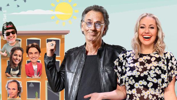 """""""Die Sat.1 Comedy Konferenz"""" steht am heutigen Donnerstag in der Primetime auf dem Programm. Hugo Egon Balder und Ruth Moschner begrüßen dazu ein virtuelles Studiopublikum und zahlreiche zugeschaltete Entertainment-Stars. (Fotos: obs/Sat.1)"""