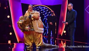 """Als dritter Prominenter in der aktuellen Staffel von """"The Masked Singer"""" ließ gestern Abend Henning Baum die Maske fallen. Der Schauspieler war in der ProSieben-Show als partyfreudiges """"Quokka"""" im Gold-Anzug aufgetreten. (Foto: ProSieben/Willi Weber)"""
