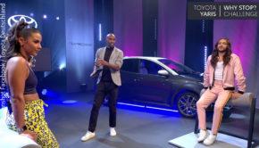 """Im Rahmen der """"Toyota Yaris Why stop? Challenge"""" haben sich Sarah Lombardi und Riccardo Simonetti zwei Wochen lang gegenseitig herausgefordert. Bei der abschließenden Facebook-Show am Wochenende konnte Lombardi den Wettbewerb für sich entschieden.(Foto: Screenshot Facebook / Toyota Deutschland)"""