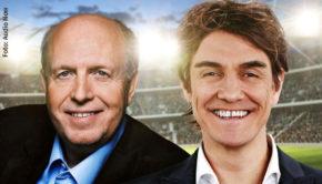 """Zwei Schwergewichte, wenn es um das Thema Fußballkompetenz geht, moderieren ab Donnerstag den wöchentlichen Podcast """"Messi & Ronaldo XXL"""" auf Audio Now. Matze Knop begrüßt dazu Reiner Calmund als neuen Partner. (Foto: Audio Now)"""